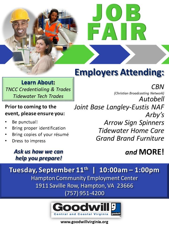 Goodwill Job Fair Virginia Employment Commission