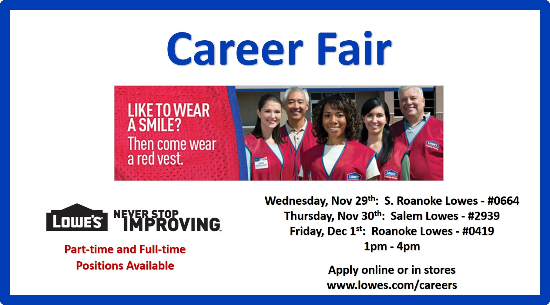 Lowes Harrisonburg Virginia >> Lowe's Roanoke Stores - Three Day Job Fair | Virginia Employment Commission
